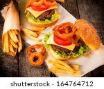 Big Beef Burger With Onion...