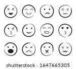 set of happy face hand drawn... | Shutterstock .eps vector #1647665305