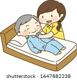 caretaker supporting old man... | Shutterstock .eps vector #1647882238
