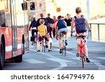 Commuters on bikes - stock photo