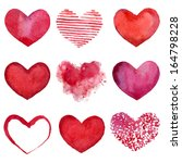 set of watercolor hearts.... | Shutterstock .eps vector #164798228