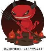 Red Devil Holding A Pitch Fork
