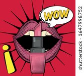 Comic Woman Mouth And Pink...