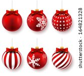 red christmas balls on gift... | Shutterstock .eps vector #164821328