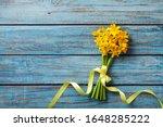 Spring Daffodil Flowers On Blue ...