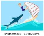 shark pursues wind surfer   Shutterstock .eps vector #164829896