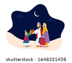 muslim couple wishing and... | Shutterstock .eps vector #1648331458