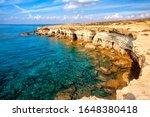 Sea caves near Cape Greko(Capo Greco) of Ayia Napa and Protaras on Cyprus island, Mediterranean Sea.