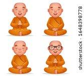cute buddhist sitting monk... | Shutterstock .eps vector #1648398778