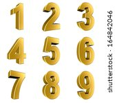 number from 1 to 9 in gold over ... | Shutterstock . vector #164842046