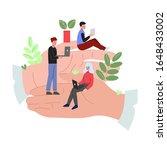 giant hands holding tiny...   Shutterstock .eps vector #1648433002