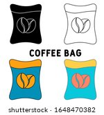 coffee bag icon in different...