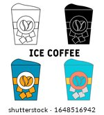 ice coffee icon in different...