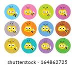 Stock vector cute bee sticker 164862725