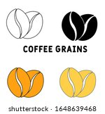 coffee grains icon in different ...
