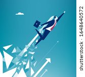 break out.  businessman breaks...   Shutterstock .eps vector #1648640572