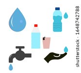 drink water icons set. water...