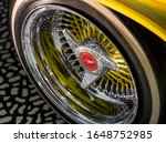 Small photo of London UK. February 2020. Close up of wheel of Chevrolet Impala car by name of Tipsy/Guardian Angel, exhibited at the Victoria and Albert Museum exhibition entitled Cars: Accelerating the Modern World