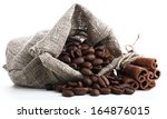 Coffee Beans In Linen Bag And...