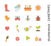 set of colorful spring icons | Shutterstock .eps vector #164879492