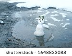Melted Cute Snowman In Puddle....