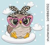 cute cartoon owl in pink... | Shutterstock .eps vector #1648863502