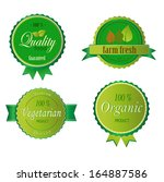 set of fresh organic labels and ... | Shutterstock .eps vector #164887586