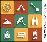 camping flat icons set. raster... | Shutterstock . vector #164887946
