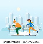 vacation winter activity young. ... | Shutterstock .eps vector #1648929358