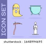 set burning candle   ghost  ...   Shutterstock .eps vector #1648994695