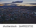 City of Decin view from Kvadrberg at winter late afternoon, Decin, Czech Republic, February 2020