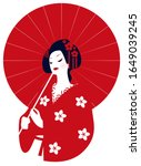 Geisha In Kimono With A Red...
