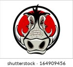 wild boar logo mascot hog sport ... | Shutterstock .eps vector #164909456
