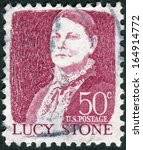 Small photo of USA - CIRCA 1968: A postage stamp printed in USA, shows a portrait of a prominent American orator, abolitionist, and suffragist, Lucy Stone by John W.Jarvis, circa 1968