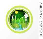 paper art of green eco friendly ...   Shutterstock .eps vector #1649348845