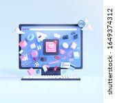 shopping on line. online store...   Shutterstock . vector #1649374312