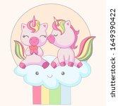 romantic couple of unicorns... | Shutterstock .eps vector #1649390422