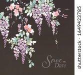 branch of wisteria. hand draw...   Shutterstock . vector #1649423785