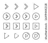 play button line icons set....