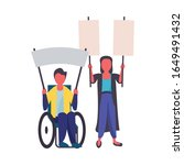 activist couple in wheelchair... | Shutterstock .eps vector #1649491432