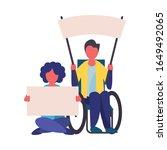 activist men in wheelchair with ...   Shutterstock .eps vector #1649492065