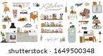stylish scandinavian kitchen... | Shutterstock .eps vector #1649500348
