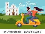 couple riding on bike in goa... | Shutterstock .eps vector #1649541358