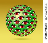 surreal green ball with... | Shutterstock .eps vector #1649626318