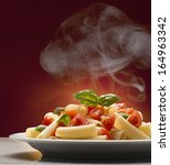 macaroni with tomato and basil | Shutterstock . vector #164963342