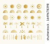 set of golden summer symbols....   Shutterstock .eps vector #1649678398