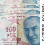 turkish liras. 100 tl turkish... | Shutterstock . vector #1649715058