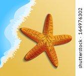 orange starfish on the beach is ...   Shutterstock .eps vector #164976302