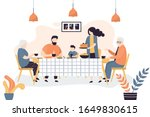 the huge family is sitting at... | Shutterstock .eps vector #1649830615