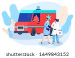 doctor and nurse at ambulance... | Shutterstock .eps vector #1649843152
